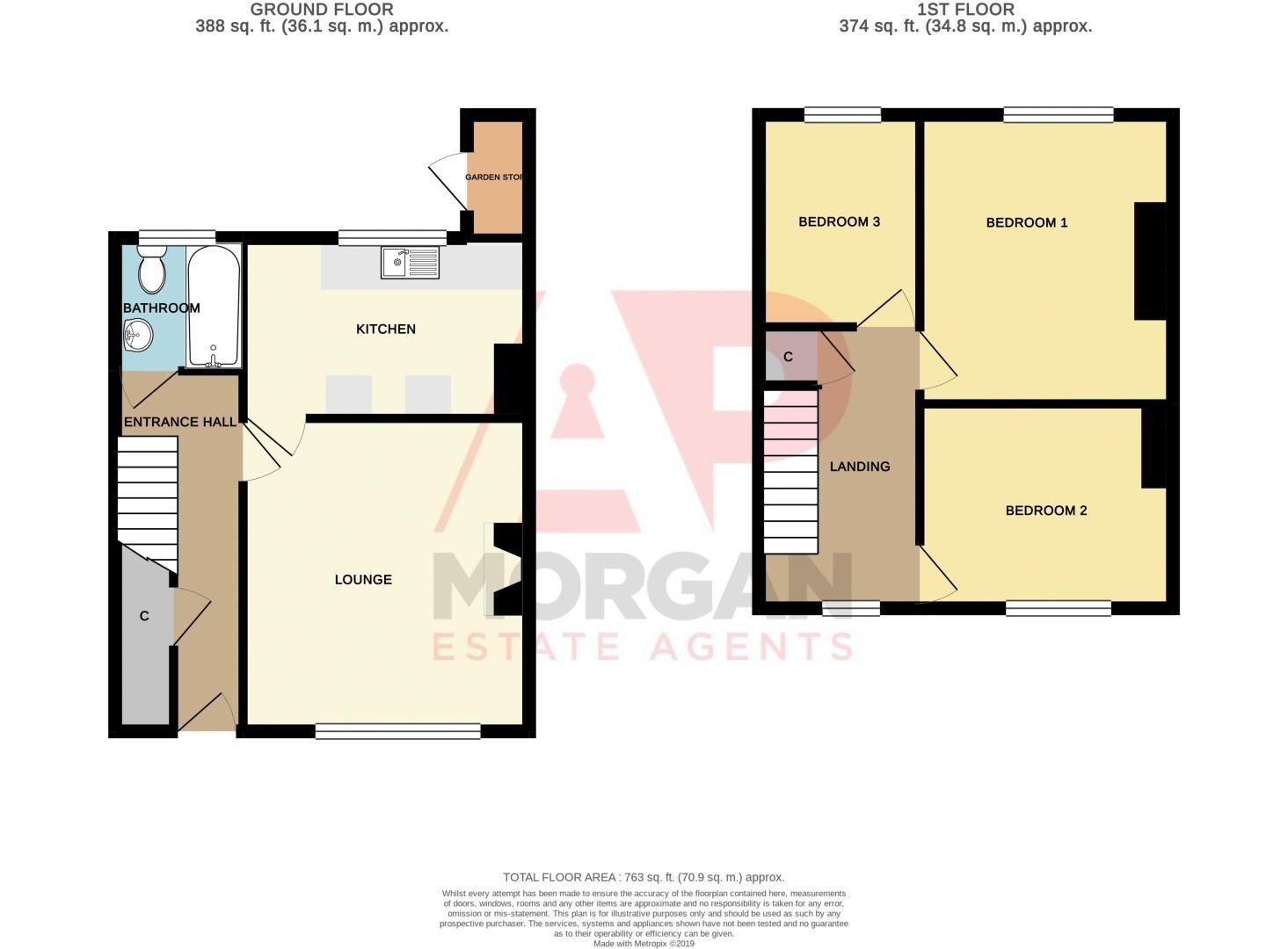 3 bed house for sale in Walker Street - Property Floorplan