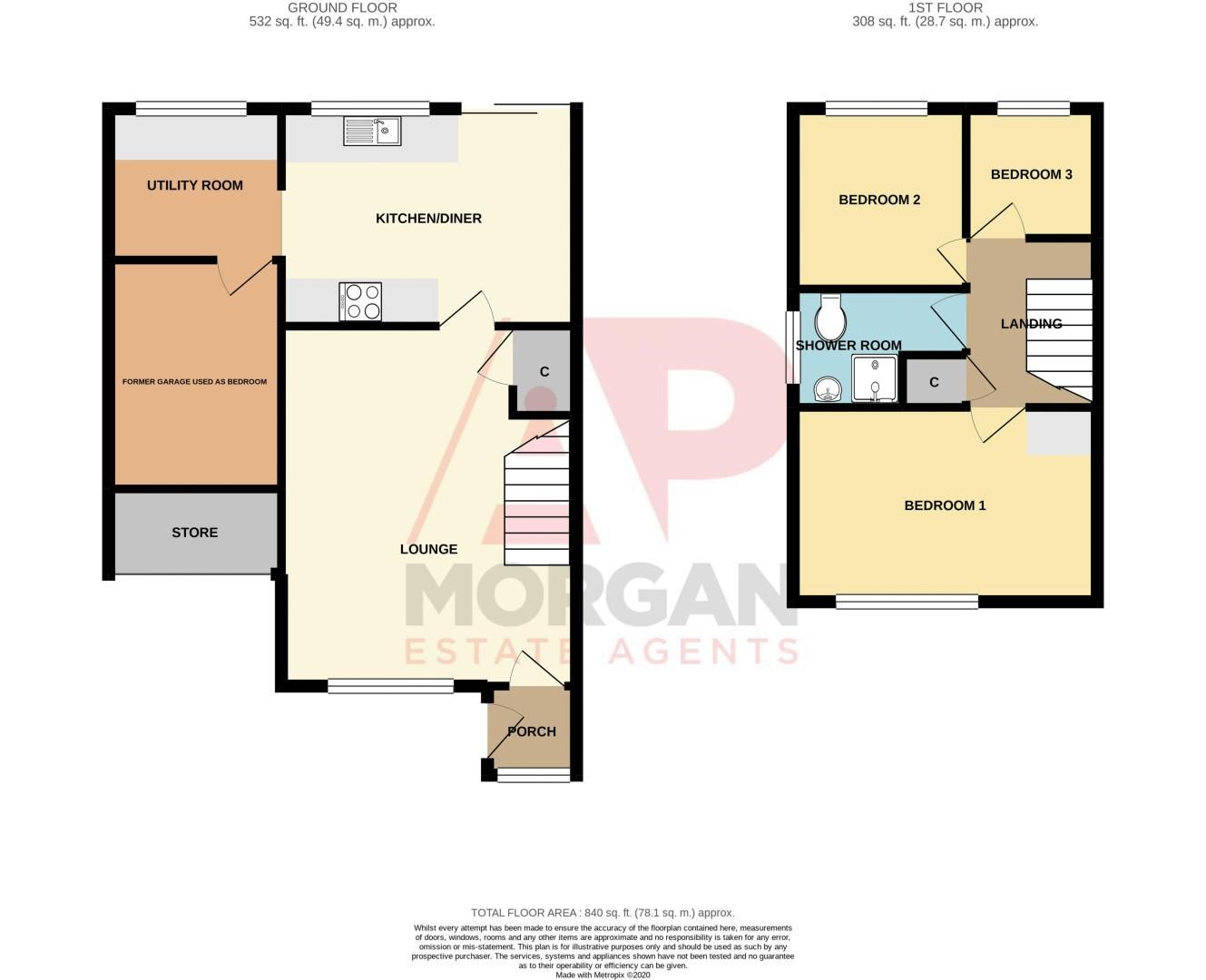 3 bed house for sale in Glynn Crescent - Property Floorplan