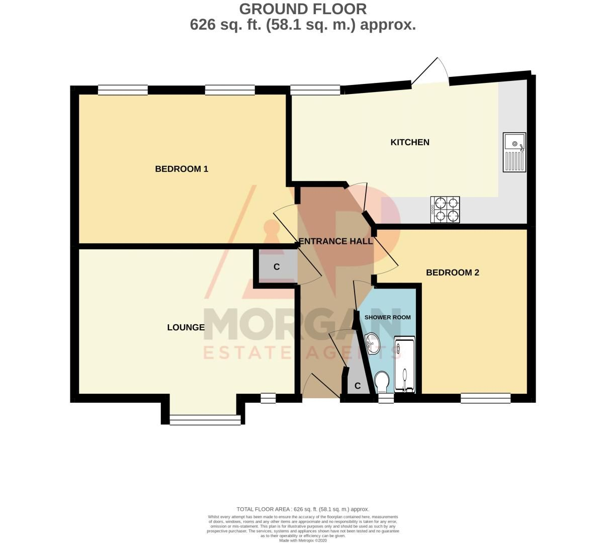 2 bed bungalow for sale in Oldfield Road - Property Floorplan