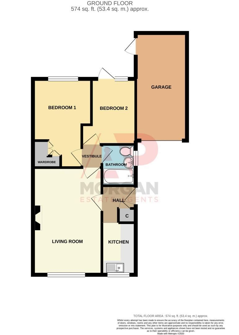 2 bed bungalow for sale in Meriden Close - Property Floorplan