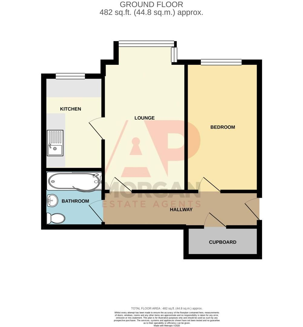 1 bed flat for sale in Worcester Street - Property Floorplan