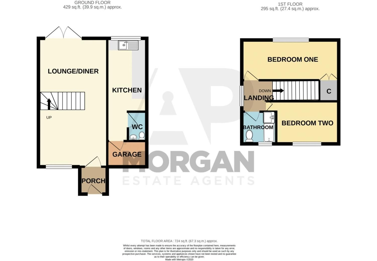 2 bed house for sale in Donnington Close - Property Floorplan