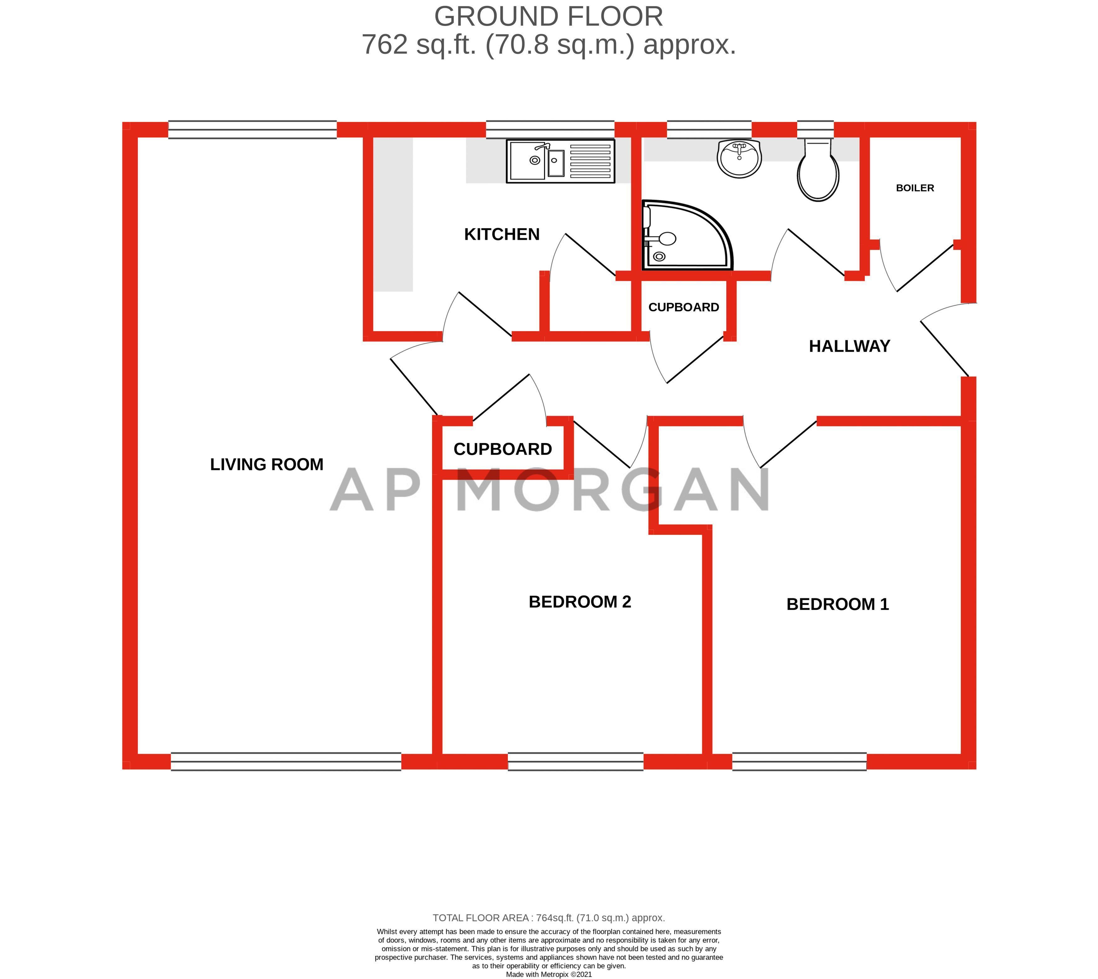 2 bed flat for sale in Herons Way - Property Floorplan