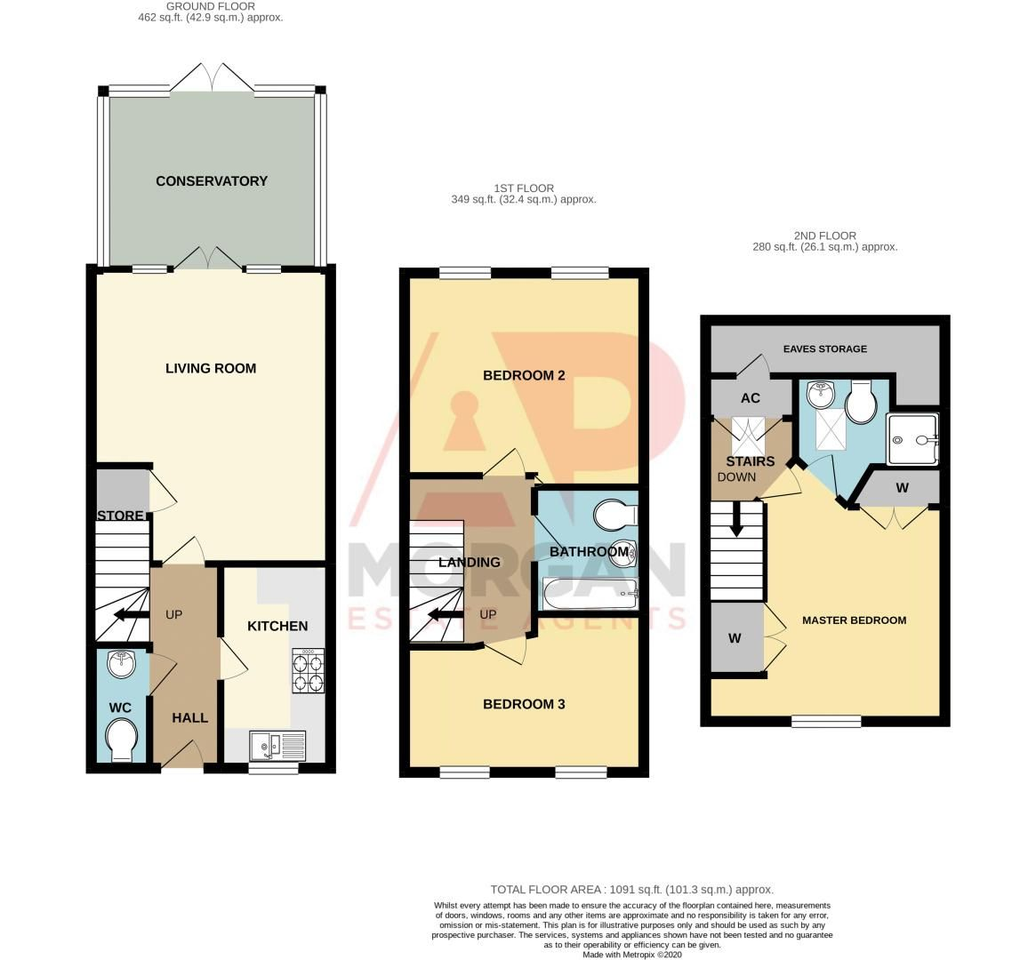 3 bed house for sale in Chestnut Drive - Property Floorplan
