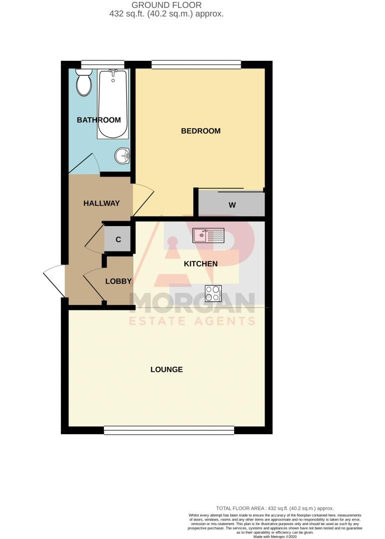 1 bed flat for sale in Glynn Crescent - Property Floorplan