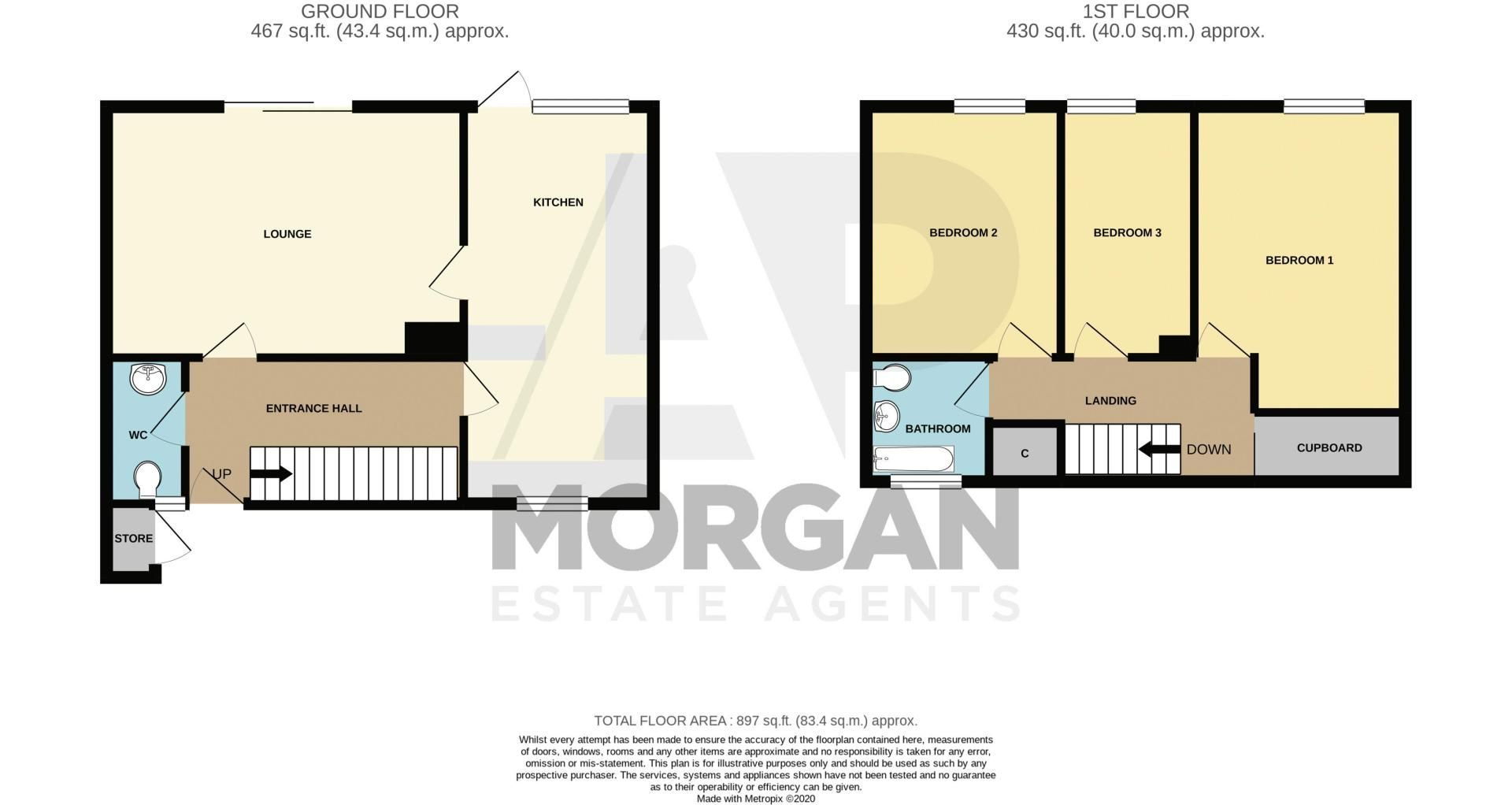3 bed house for sale in Evenlode Close - Property Floorplan