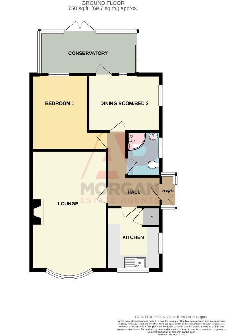 2 bed bungalow for sale in Ladbrook Close - Property Floorplan