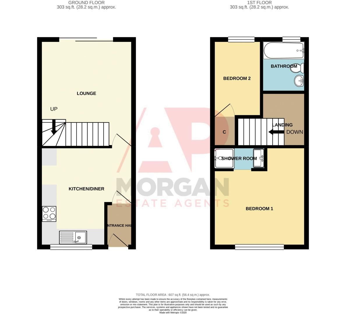 2 bed house for sale in Ashmores Close - Property Floorplan