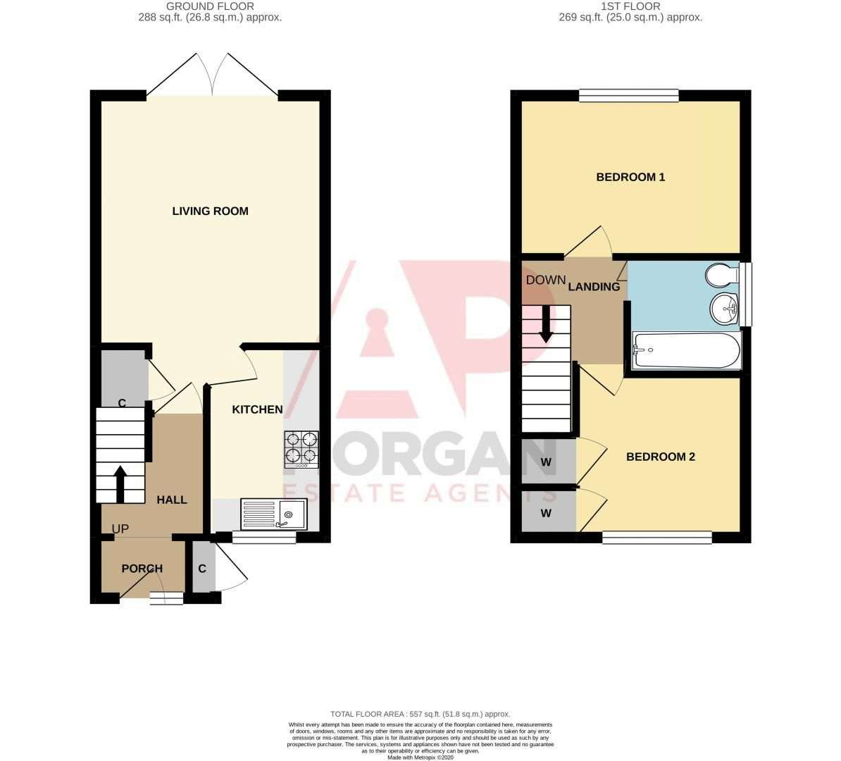 2 bed house for sale in Olive Lane - Property Floorplan