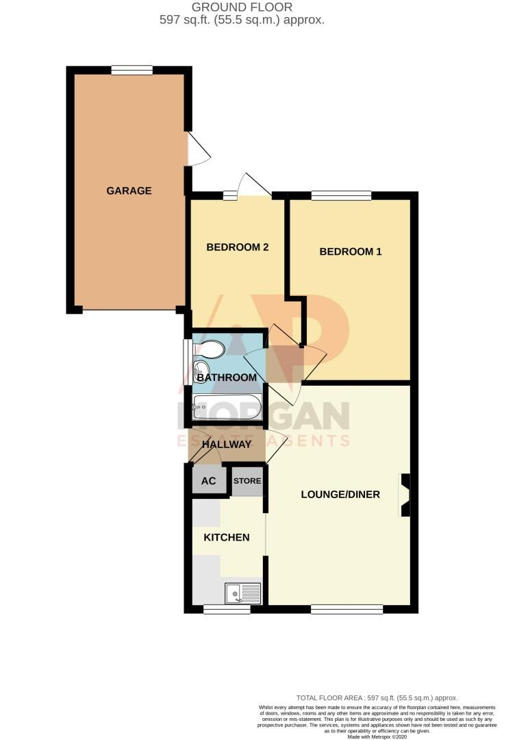 2 bed bungalow for sale in Pebworth Close - Property Floorplan