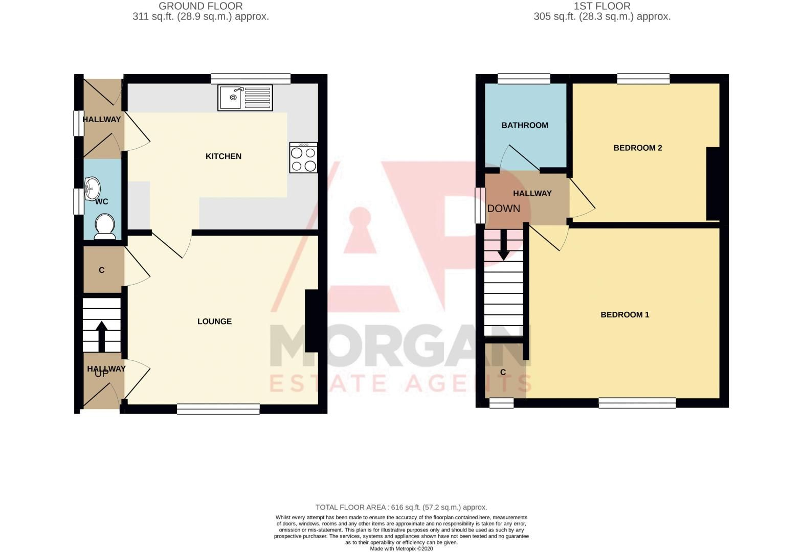 2 bed house for sale in Butchers Lane - Property Floorplan