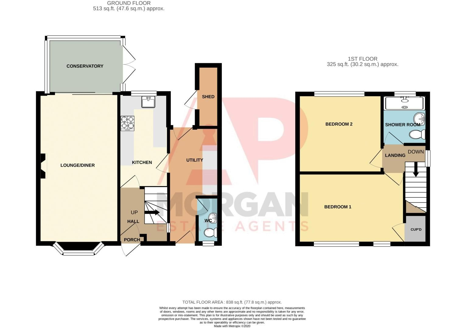 2 bed house for sale in Field Close - Property Floorplan