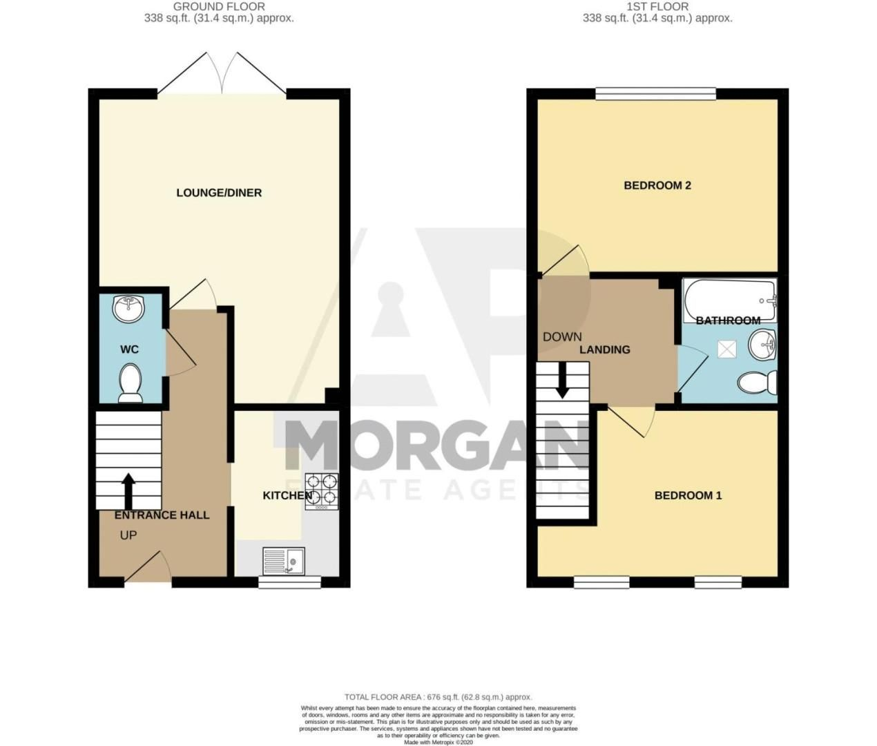 2 bed house for sale in Tidbury Close - Property Floorplan