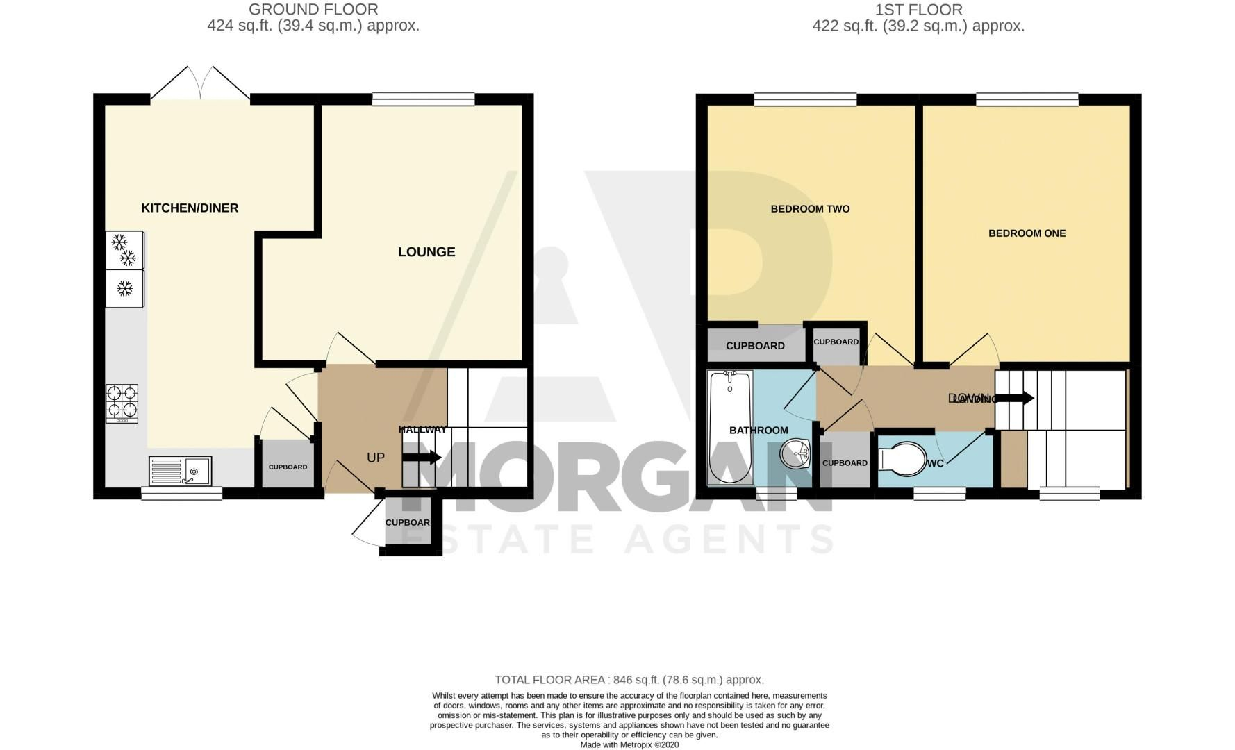 2 bed house for sale in Mickleton Close - Property Floorplan