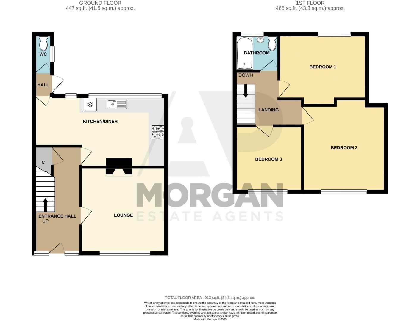 3 bed house for sale in Sandfield Road - Property Floorplan