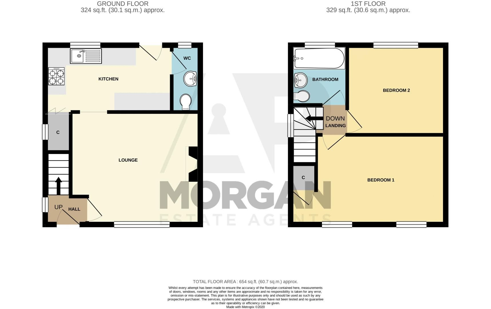 2 bed house for sale in Rookery Avenue - Property Floorplan