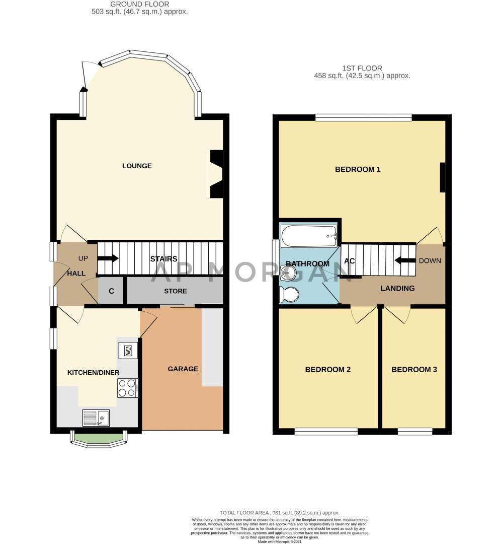 3 bed house for sale in Quantock Road - Property Floorplan