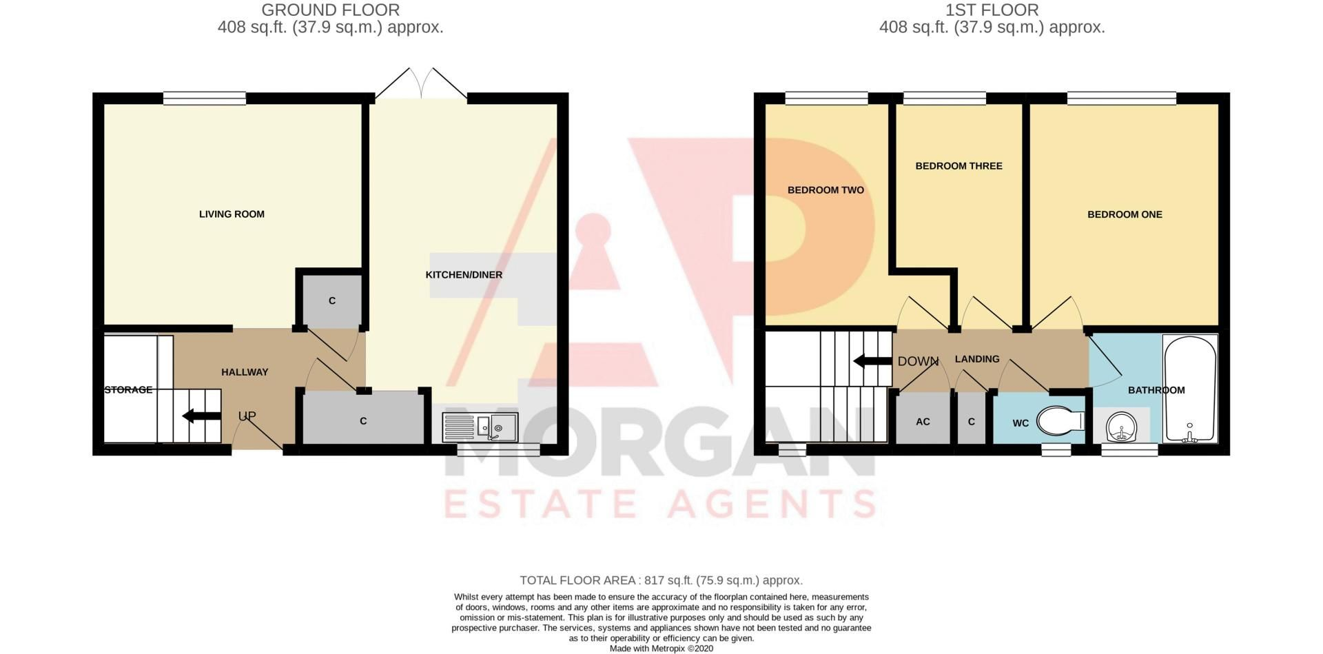 3 bed house to rent in Mordiford Close - Property Floorplan