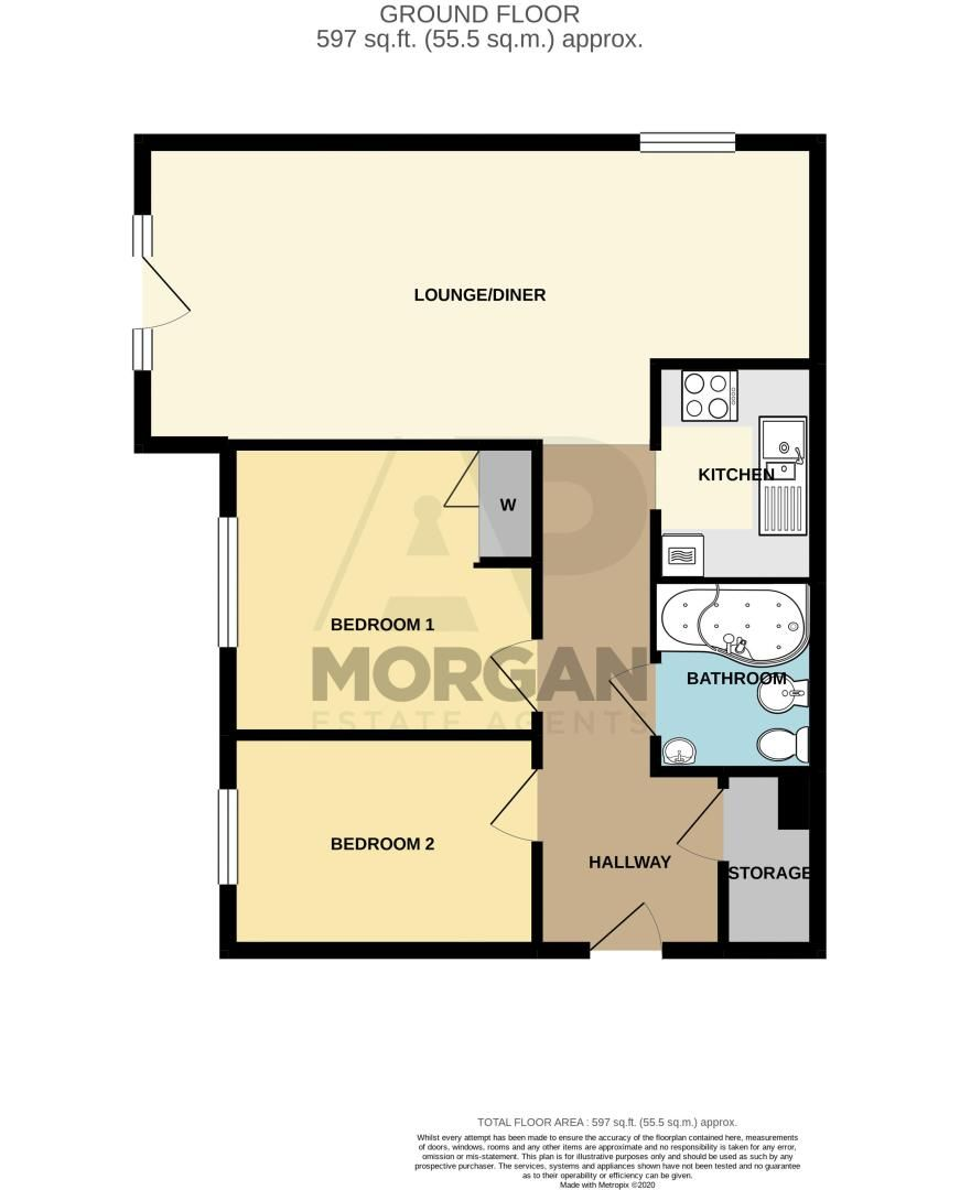 2 bed flat for sale in Woodfield Road - Property Floorplan