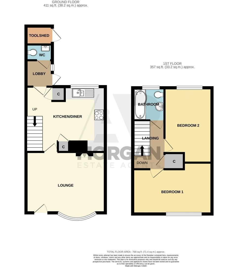 2 bed house for sale in Priors Oak - Property Floorplan
