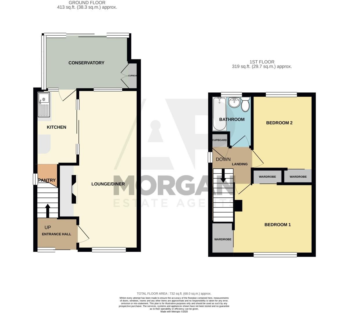 2 bed house for sale in Eden Close - Property Floorplan