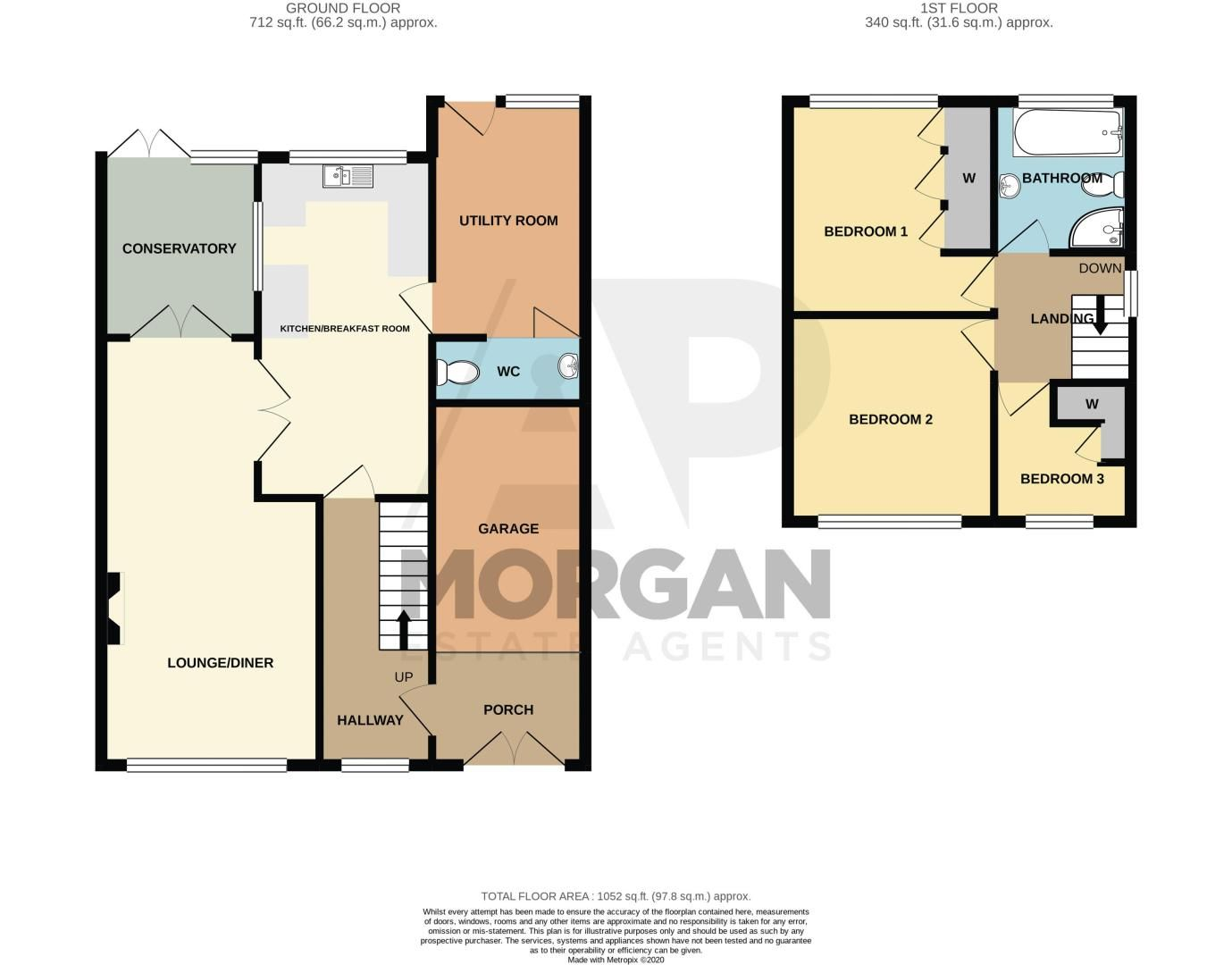 3 bed house for sale in Kempsey Close - Property Floorplan