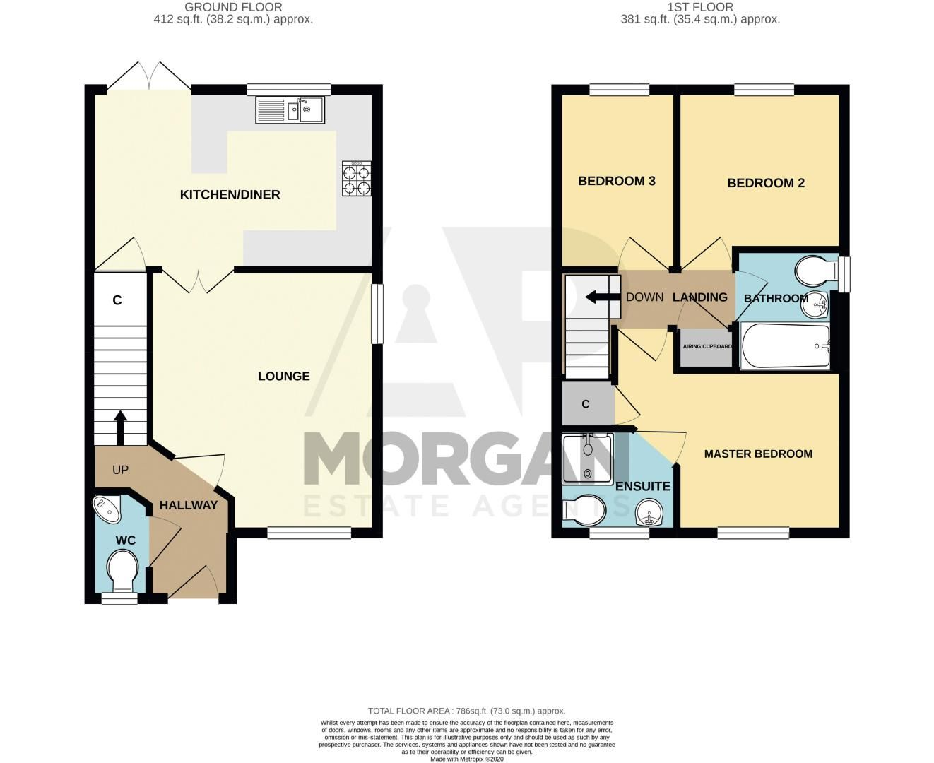 3 bed house for sale in Robins Lane - Property Floorplan