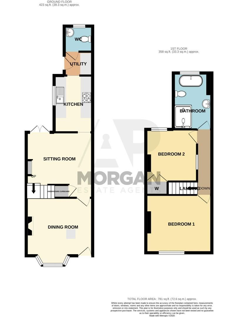 2 bed house for sale in Brook Road - Property Floorplan