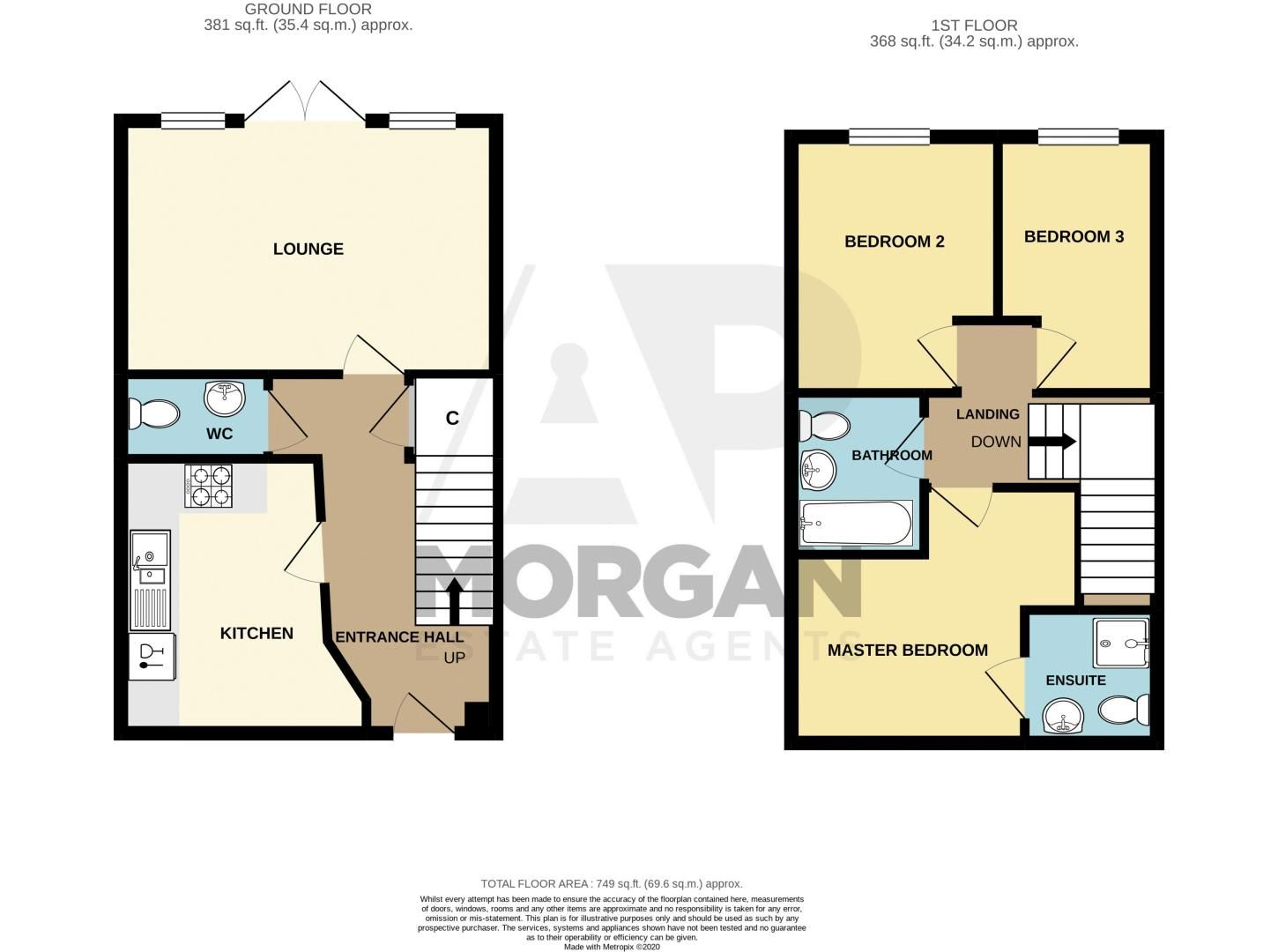 3 bed house for sale in Hadlow Close - Property Floorplan