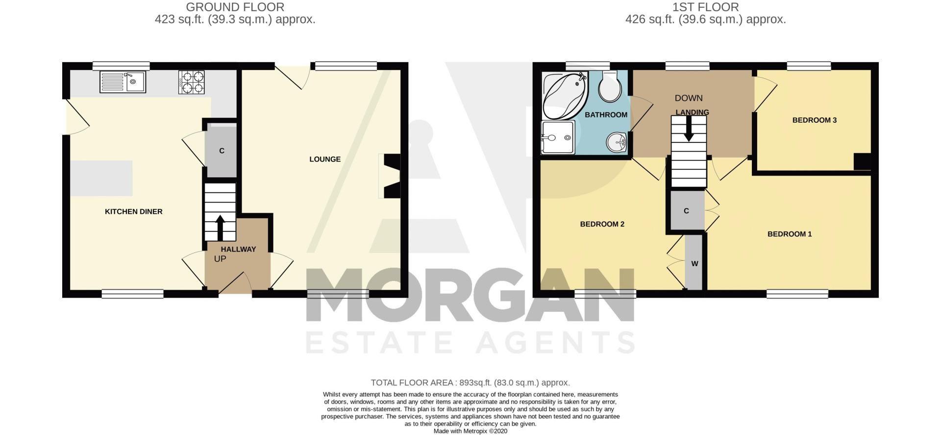 3 bed house for sale in Bishop Hall Crescent - Property Floorplan