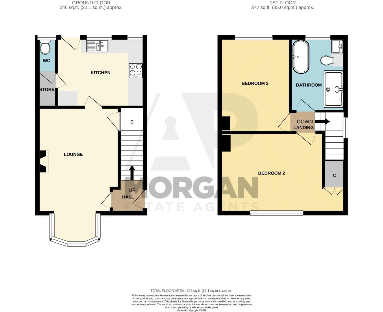 2 bed house for sale in Broom Hall Crescent - Property Floorplan