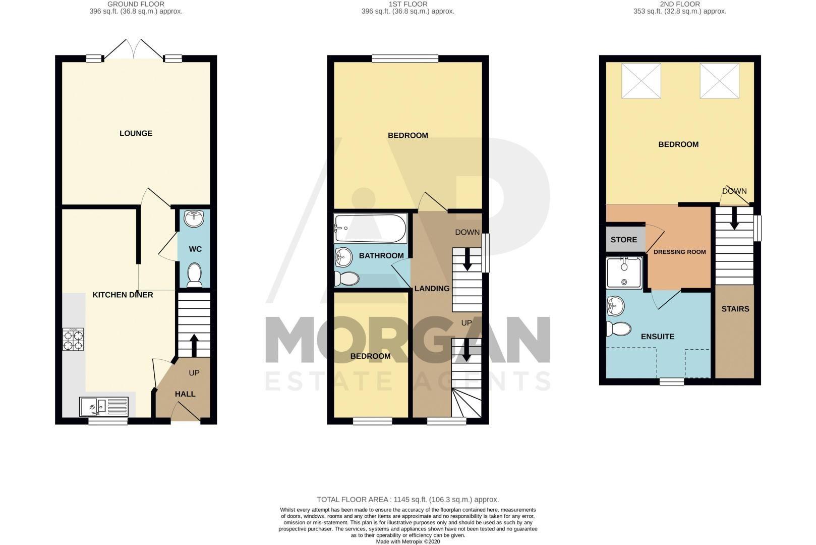 3 bed house for sale in Nash Gardens - Property Floorplan
