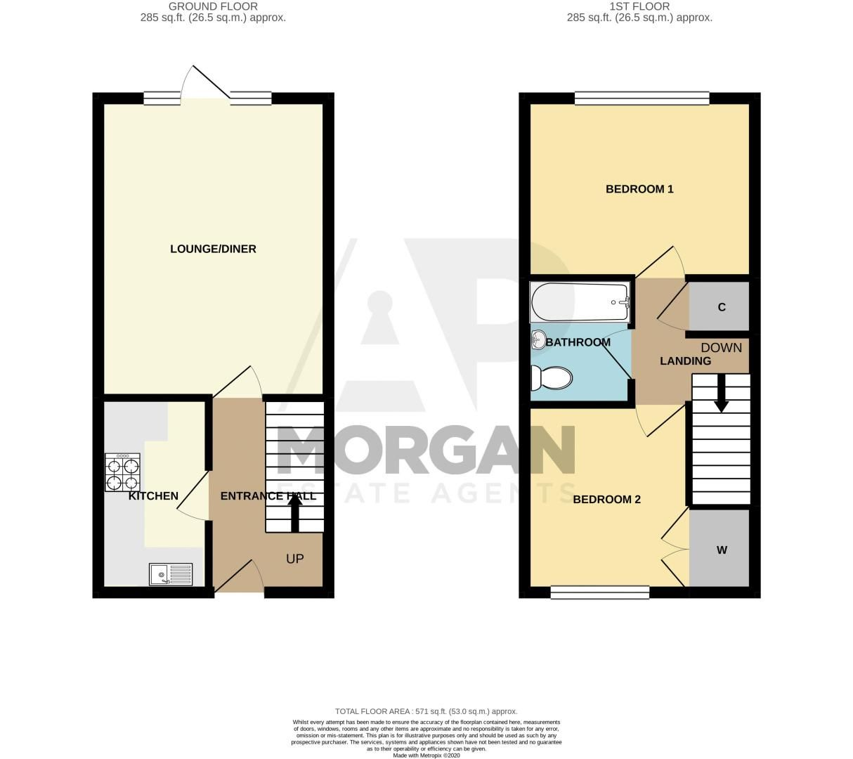 2 bed house for sale in Clifton Road - Property Floorplan