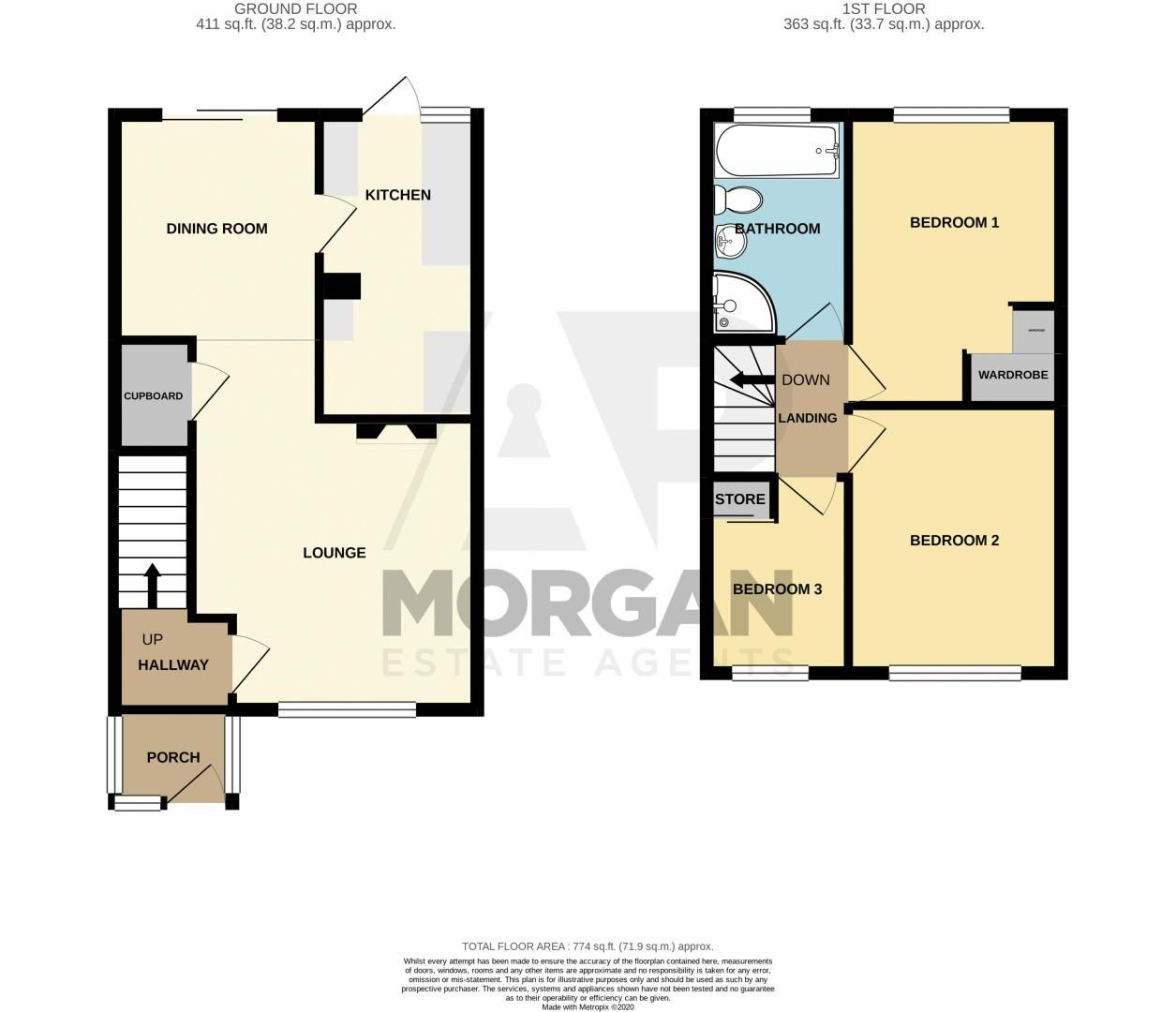 3 bed house for sale in Hillside Drive - Property Floorplan