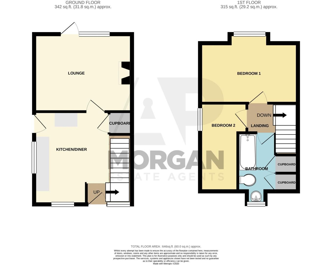 2 bed house for sale in Finstall Road - Property Floorplan