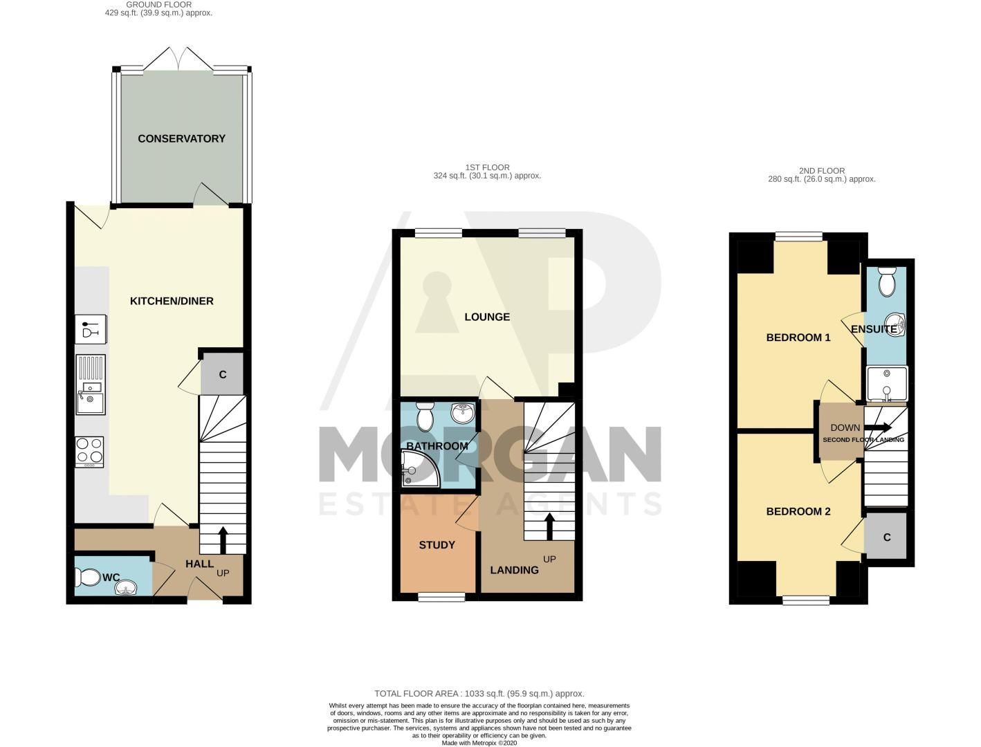 3 bed house for sale in Honeychurch Close - Property Floorplan