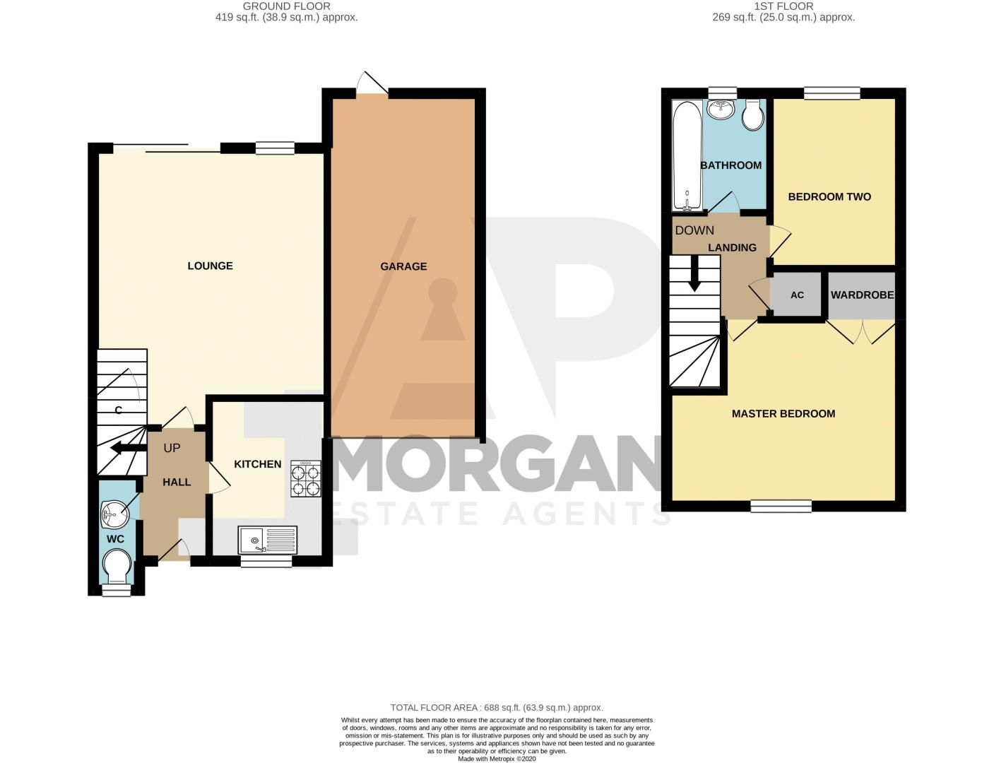 2 bed house for sale in Marchwood Close - Property Floorplan