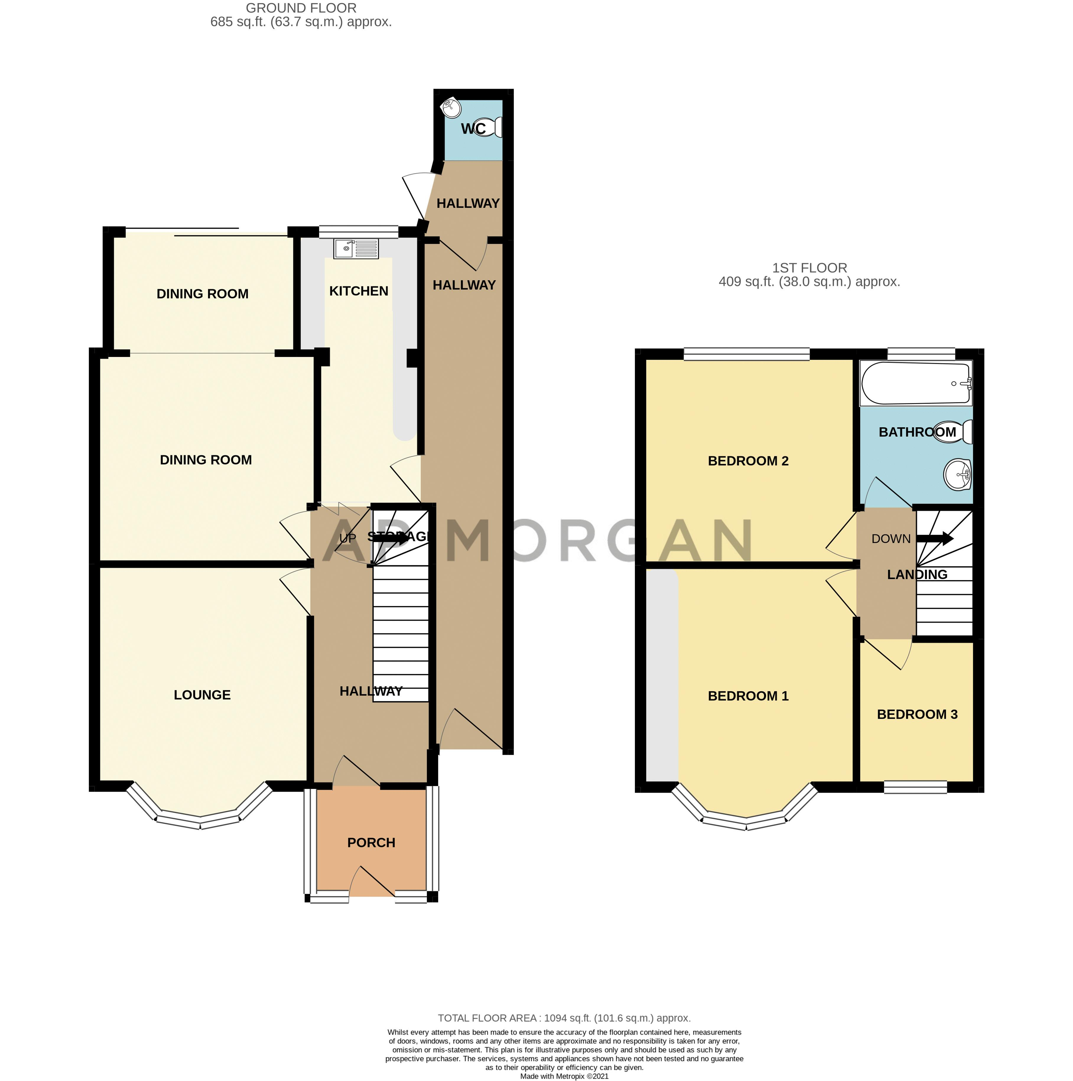 3 bed house for sale in Sandfields Road - Property Floorplan
