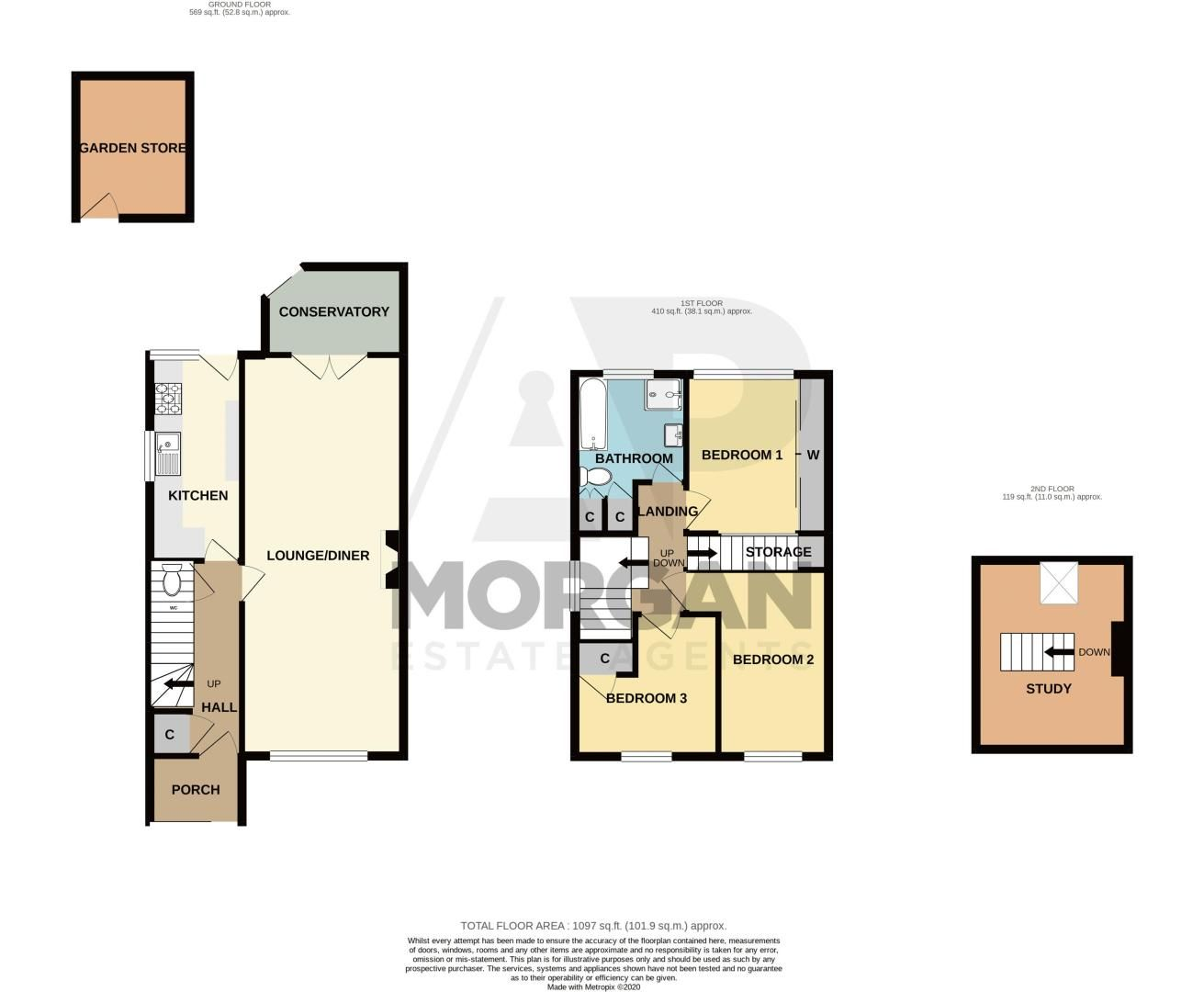 3 bed house for sale in Olton Boulevard East - Property Floorplan