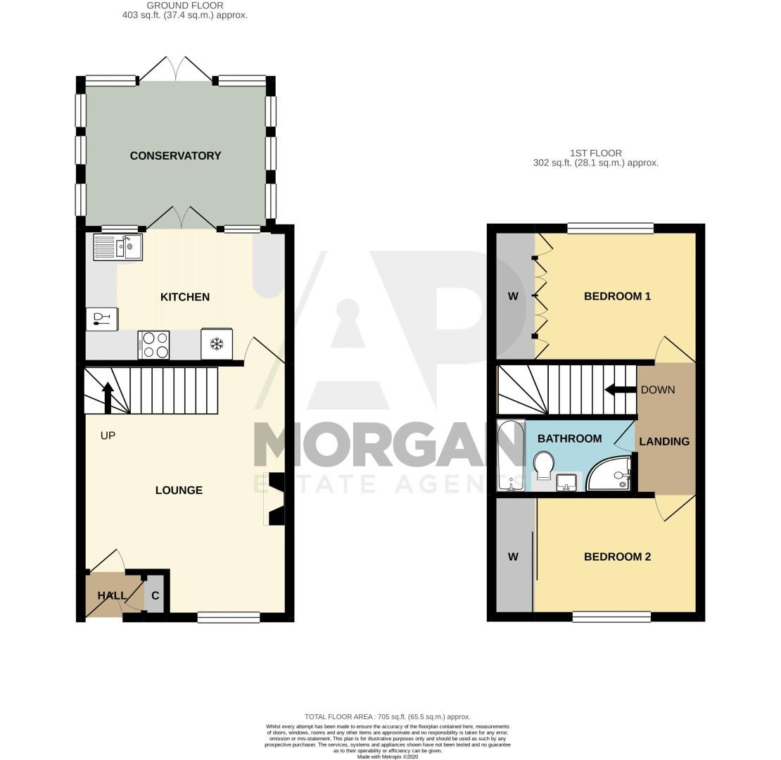 2 bed house for sale in Bilbury Close - Property Floorplan