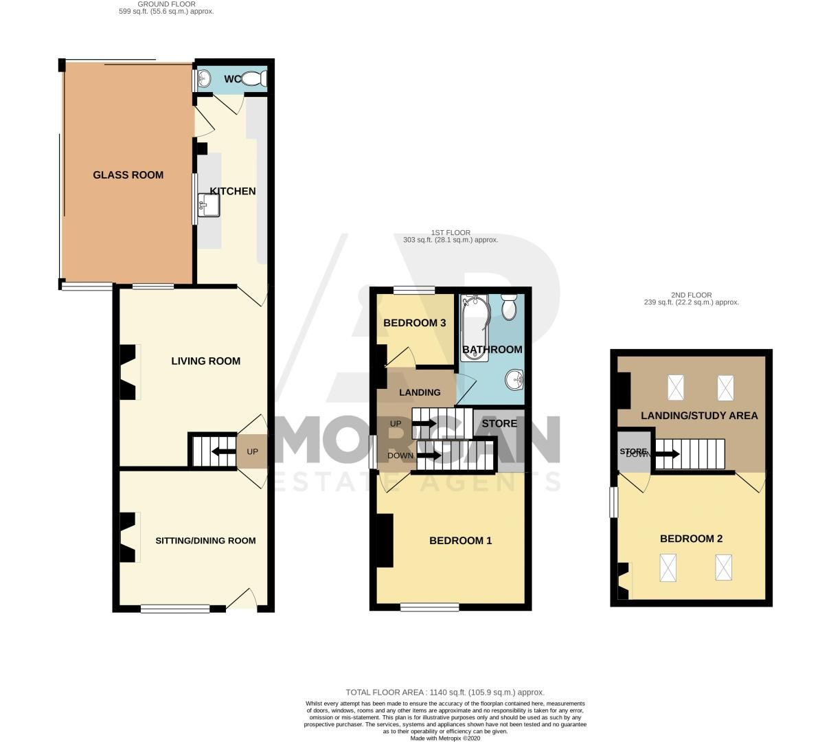 3 bed house for sale in Lickey Rock - Property Floorplan