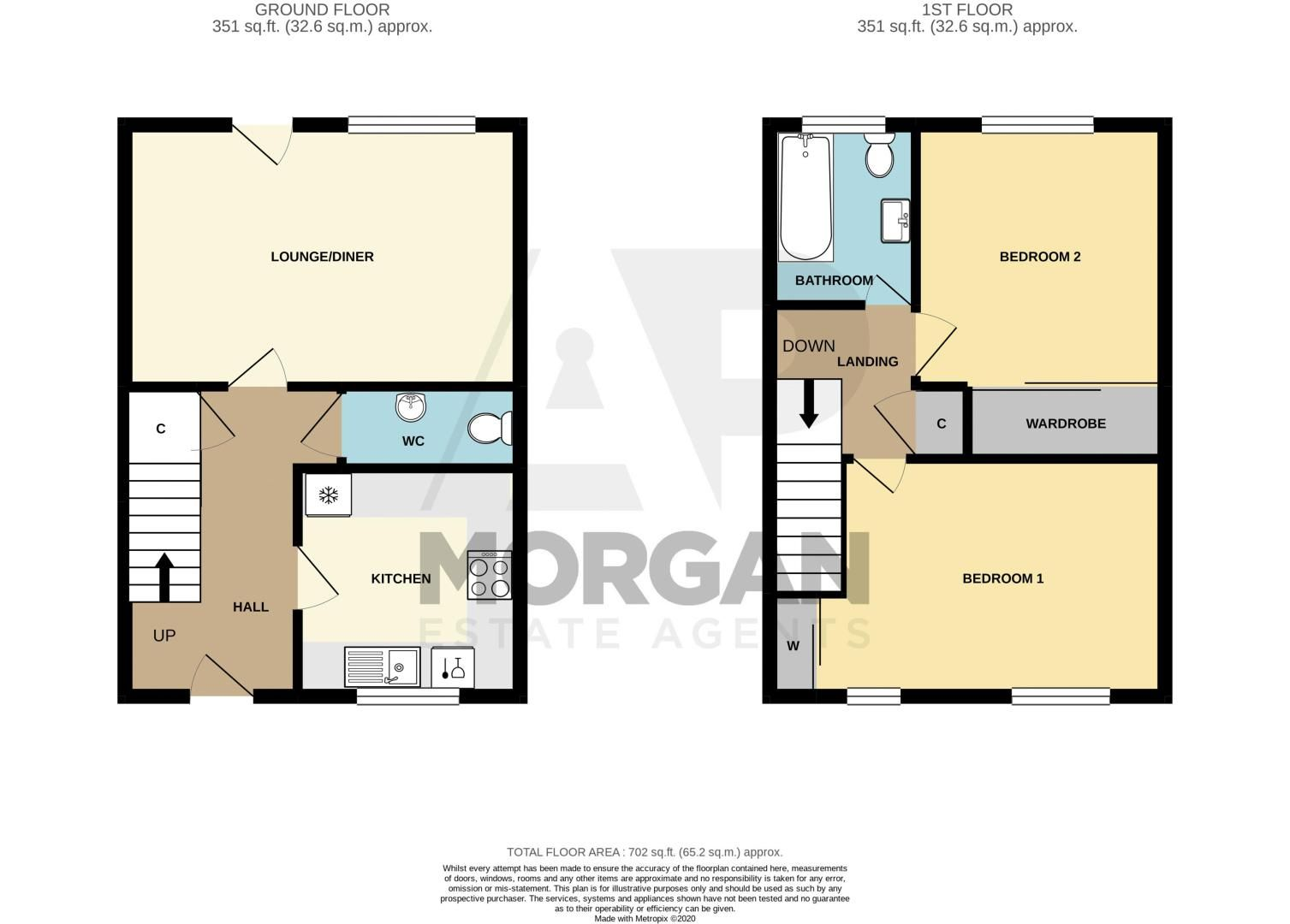 2 bed house for sale in Marton Close - Property Floorplan