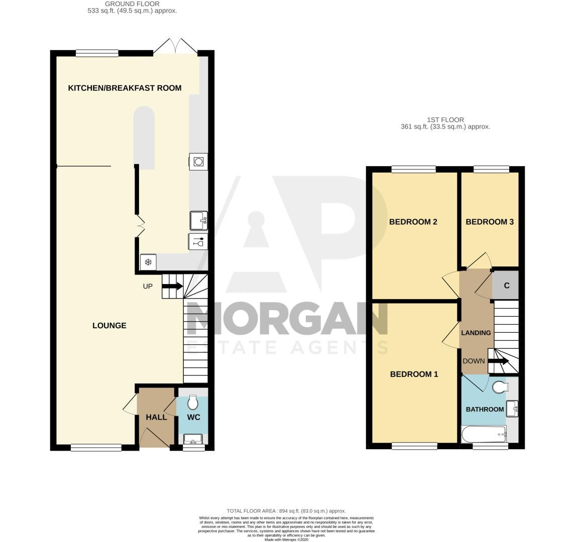 3 bed house for sale in Plymouth Close - Property Floorplan