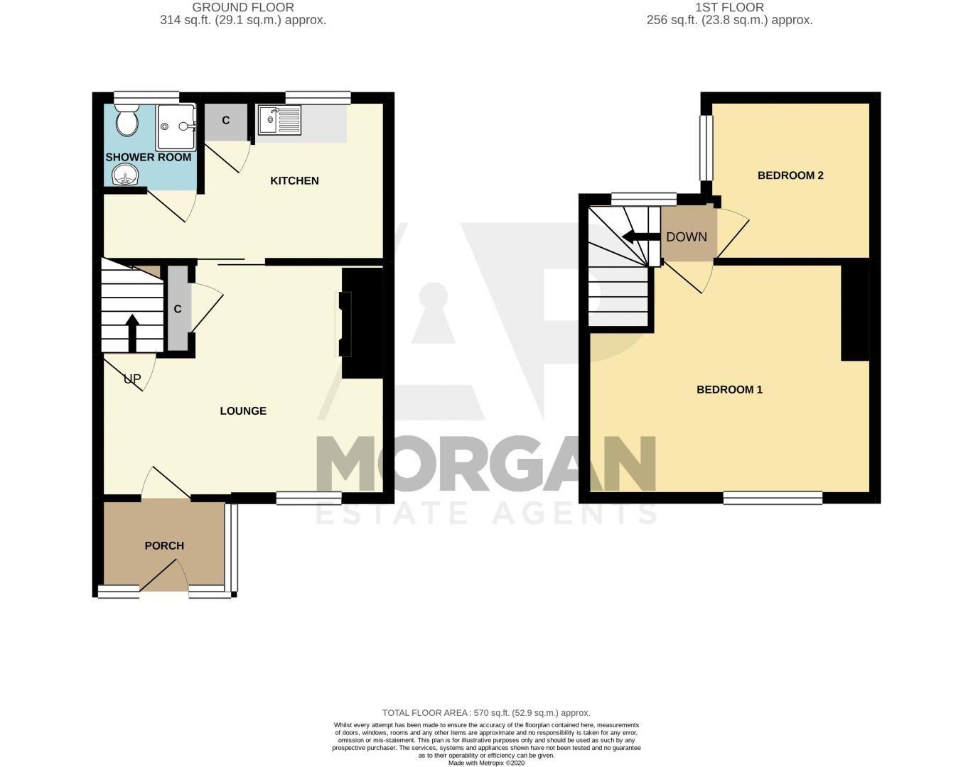 2 bed cottage for sale in Peters Finger - Property Floorplan