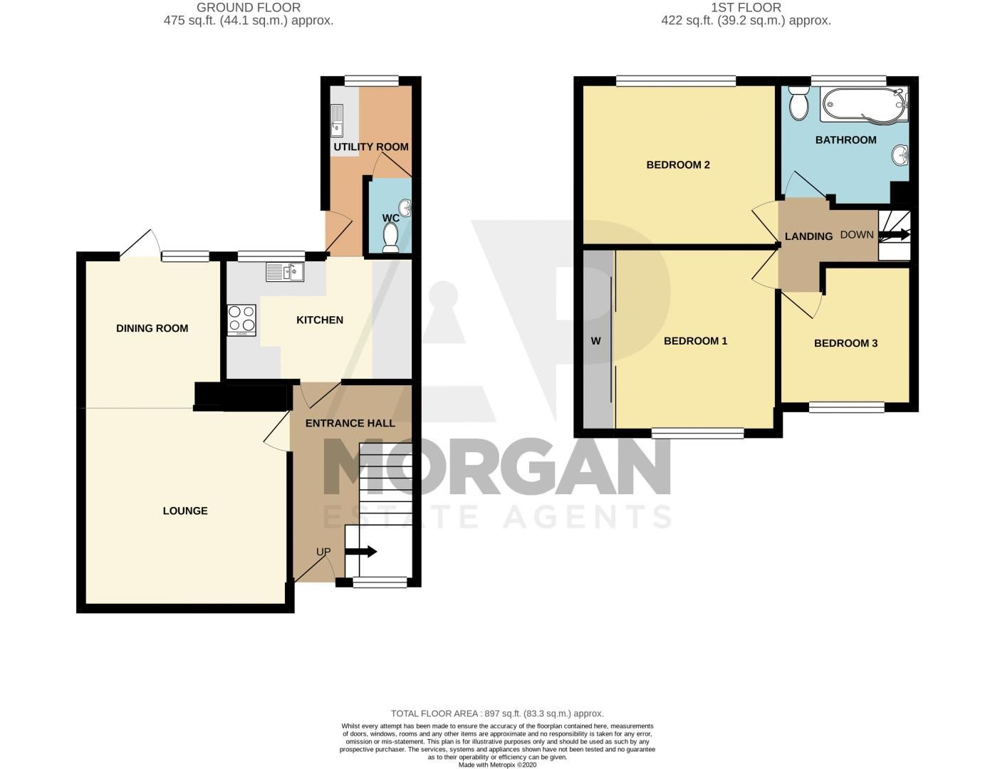 3 bed house for sale in Hill Top - Property Floorplan