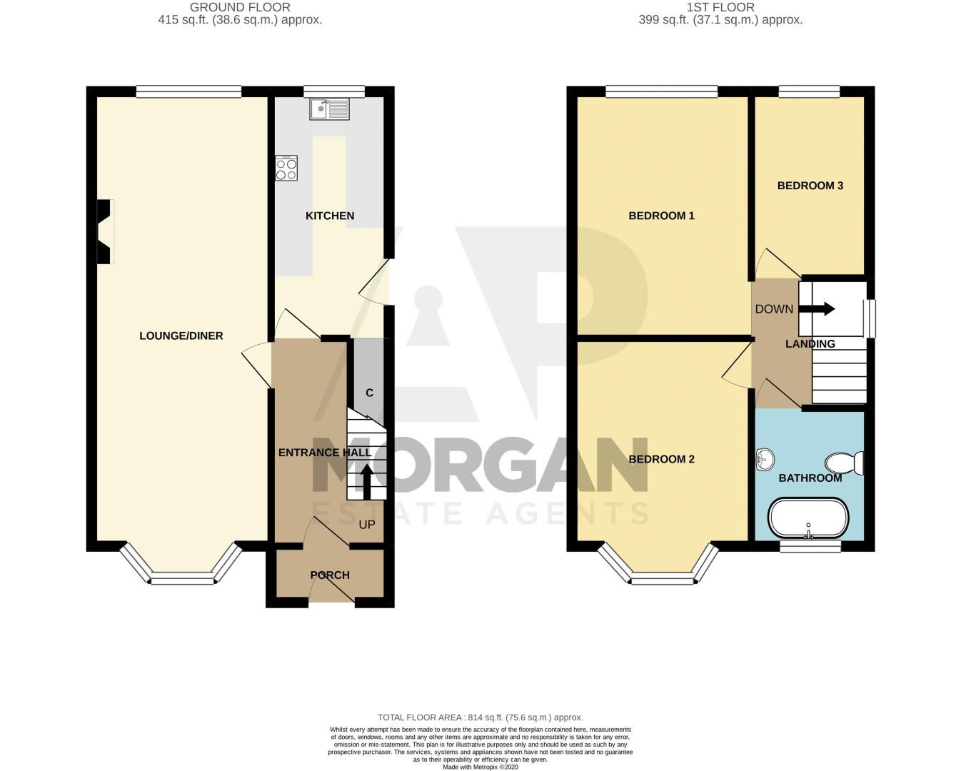 3 bed house for sale in Mayswood Grove - Property Floorplan
