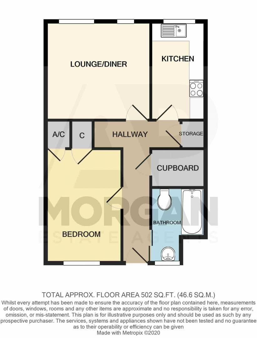 1 bed  for sale in Albert Close - Property Floorplan