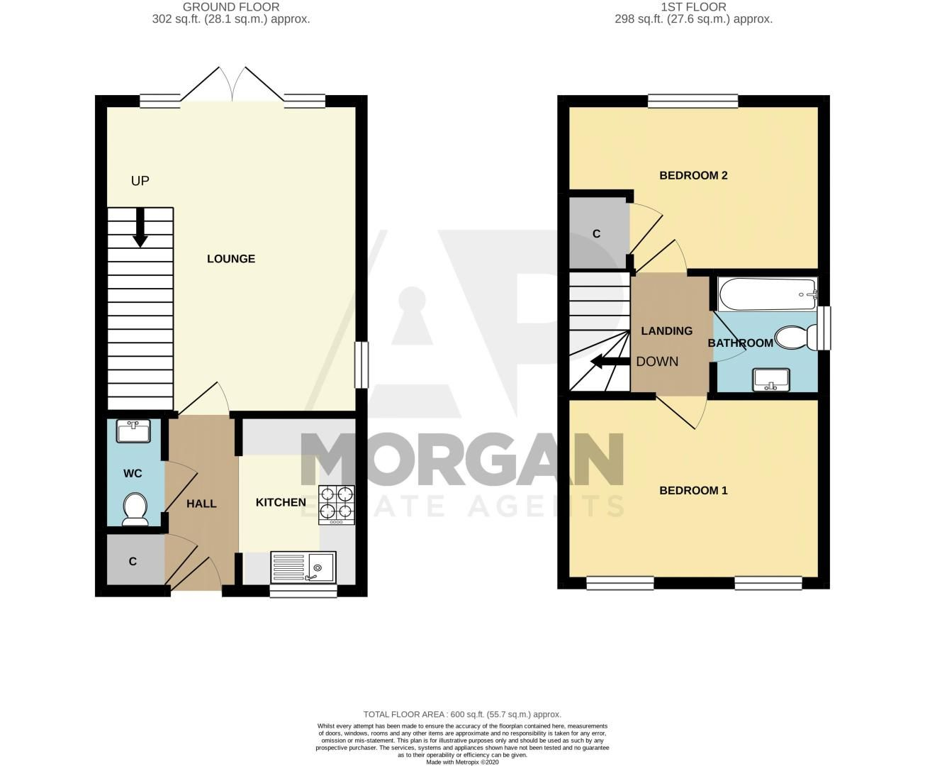 2 bed house for sale in Hopesay Close - Property Floorplan