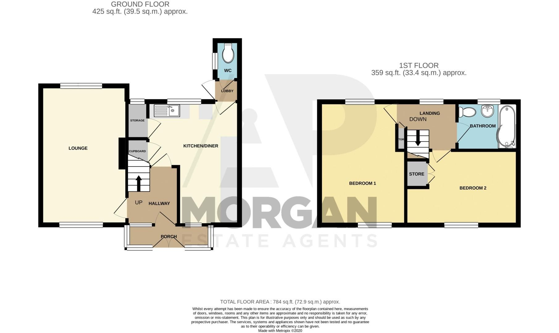 2 bed house for sale in Catherine Close - Property Floorplan