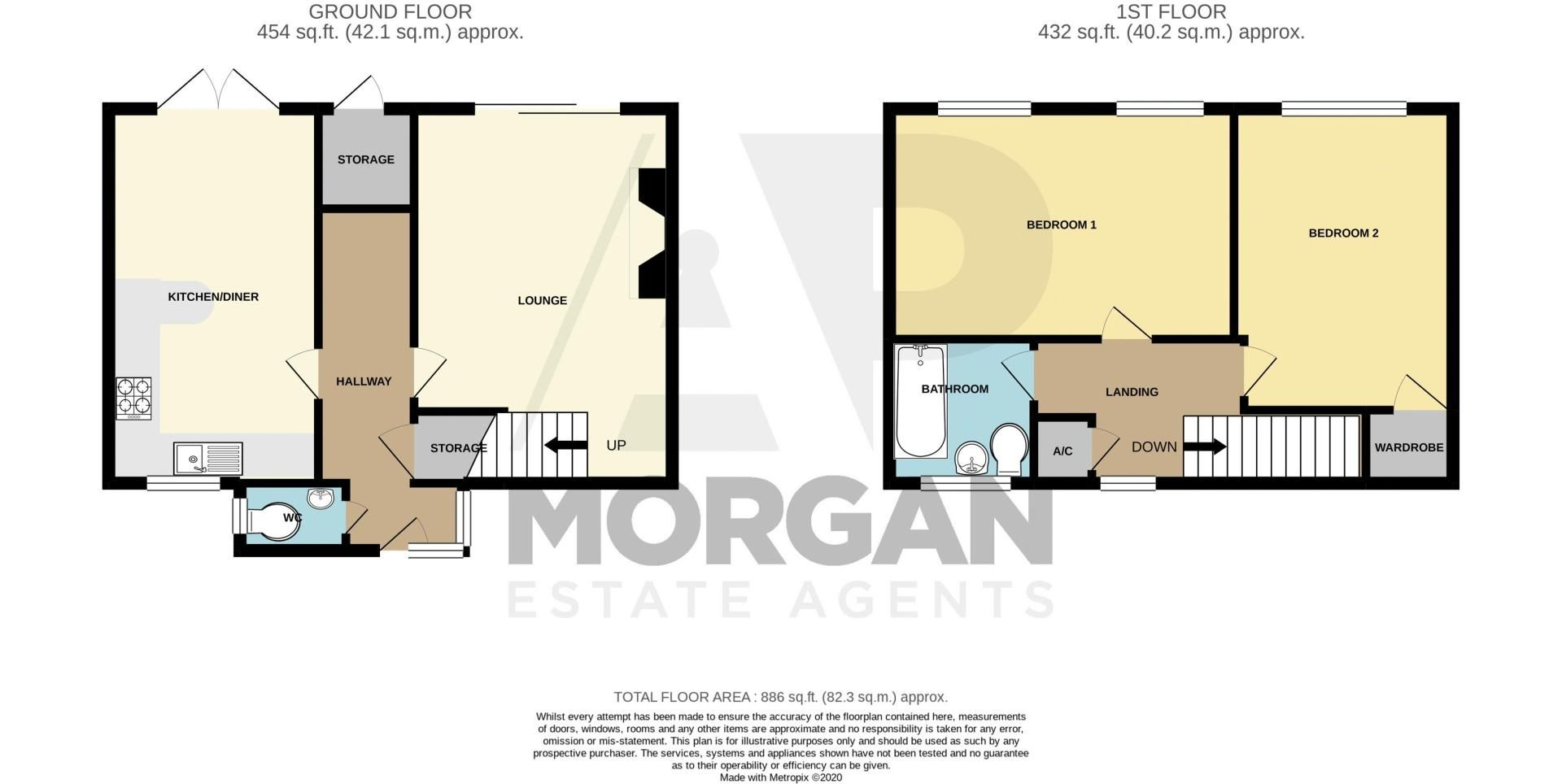 2 bed house for sale in Drayton Close - Property Floorplan